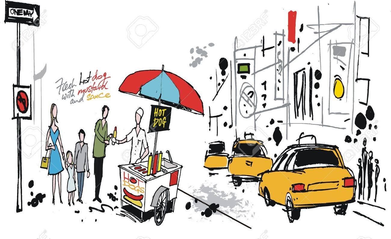 1300x796 Drawing Of Hot Dog Seller, New York Usa Royalty Free Cliparts