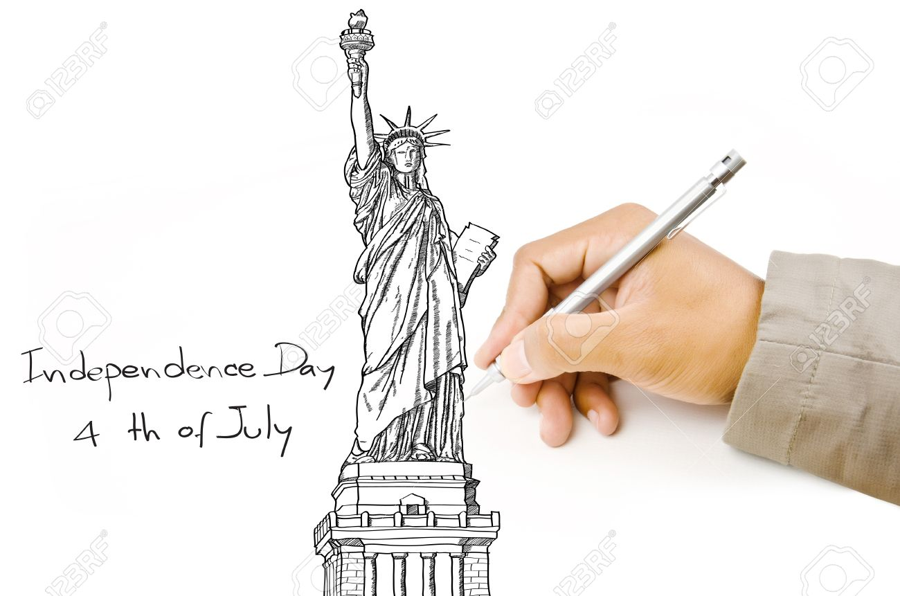 1300x861 Hand Drawing Statue Of Liberty Line In Usa For Independence