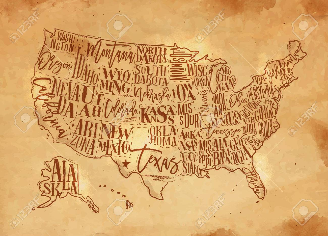1300x935 Vintage Usa Map With States Inscription California, Florida