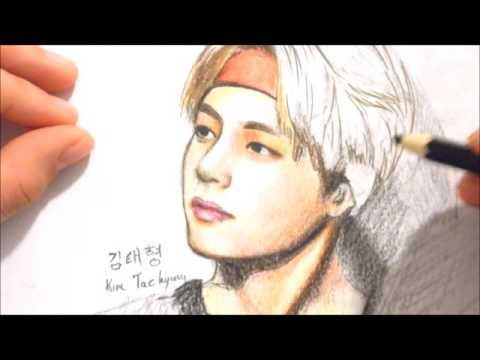 480x360 Drawing Kim Tae Hyung V (Bts)