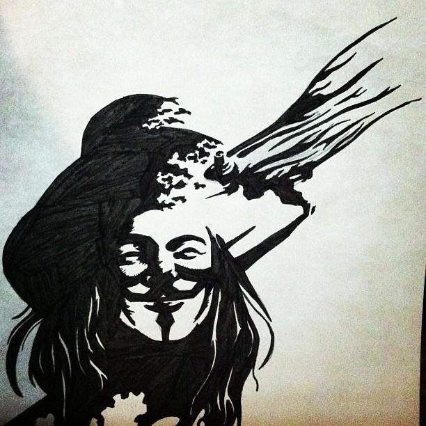 612x612 V For Vendetta Drawing.