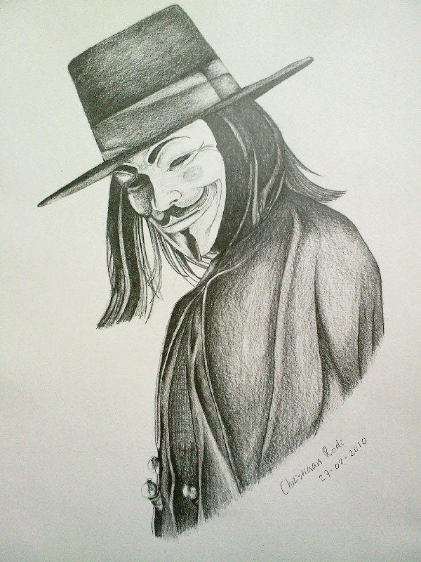 600x800 V For Vendetta Drawing