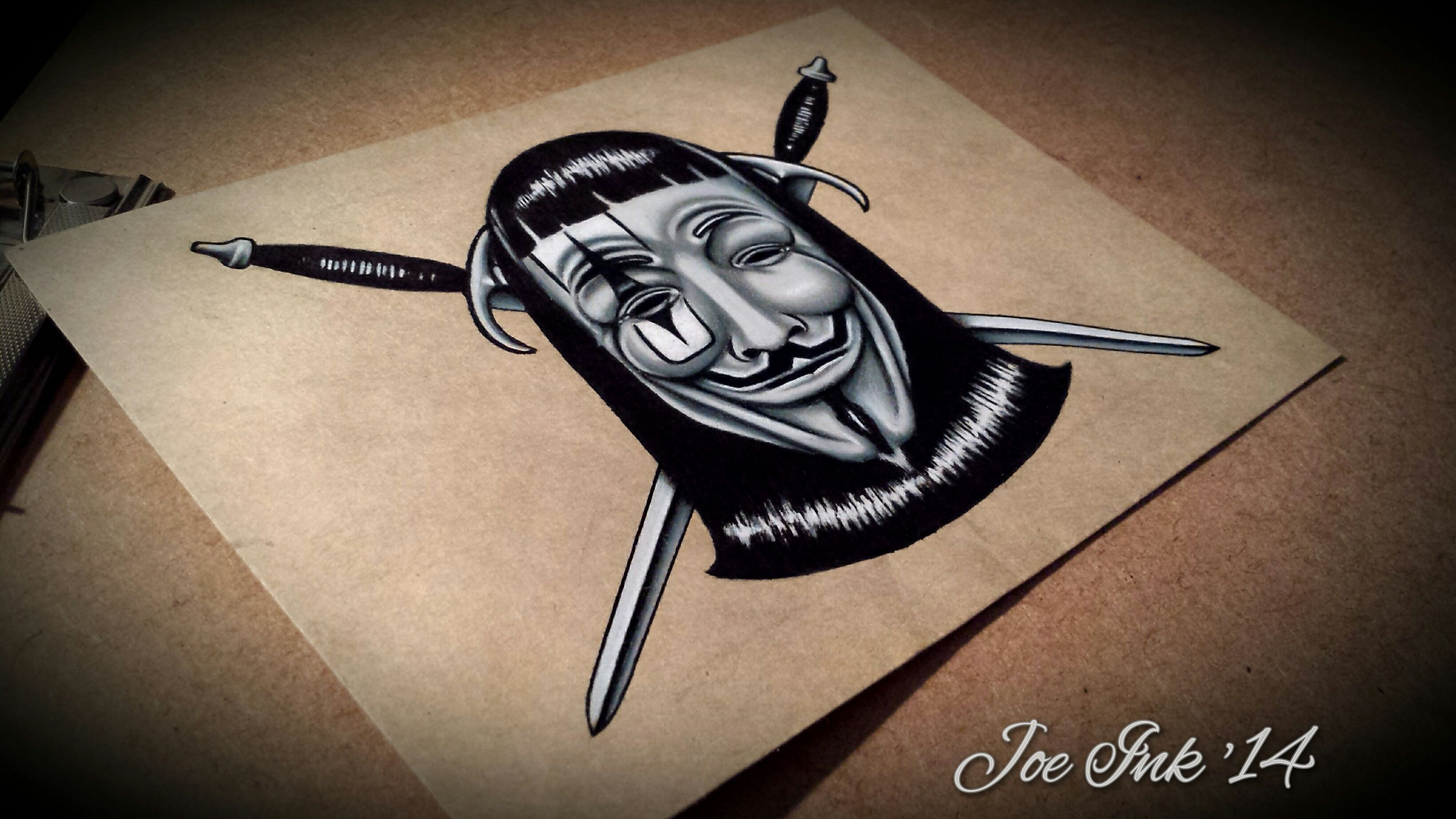 3278x1843 My Version Of The V For Vendetta Mask! Color Pencil, Marker