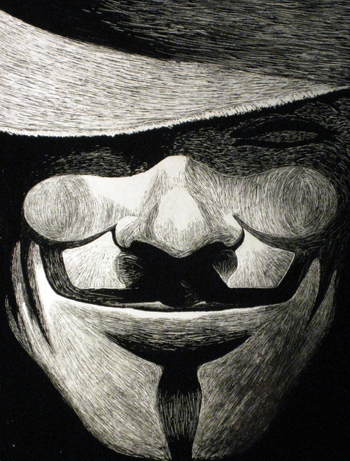 500x658 V For Vendetta [Scratchboard Drawing] On We Heart It