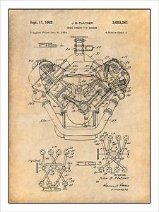 225x300 1954 chrysler 426 hemi v8 engine patent print art drawing poster