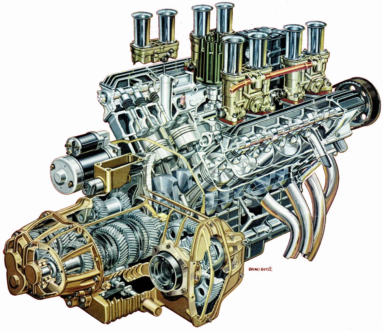 1280x1107 V8 Engine Cutaway Illustration Race Engines Amp Cutaways