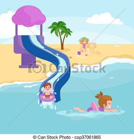 450x470 Children Summer Vacation Kids Playing Sand Around Water On