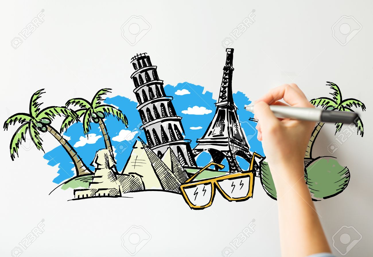 1300x899 People, Travel, Tourism, Summer Vacation And Graphic Arts Concept