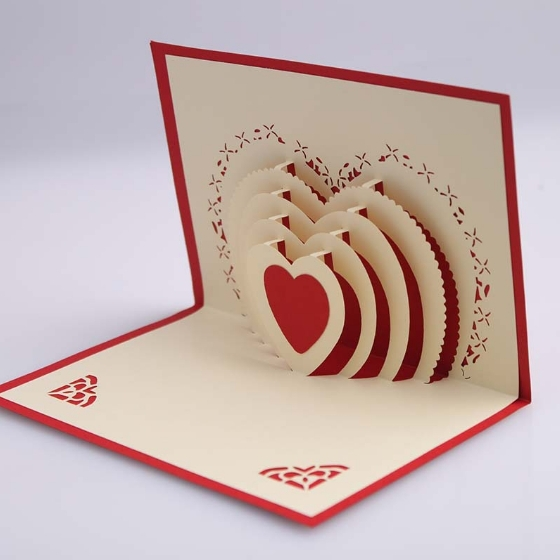 560x560 5pcslot,3d Pop Up Card,diy Drawing, Love Heart Design,card