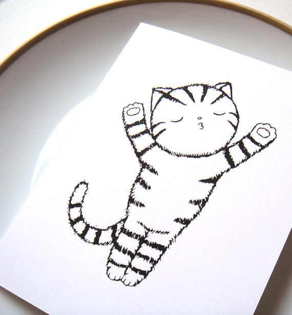 570x615 Funny Valentine Card Illustration Cute Cat Drawing By Mikaart