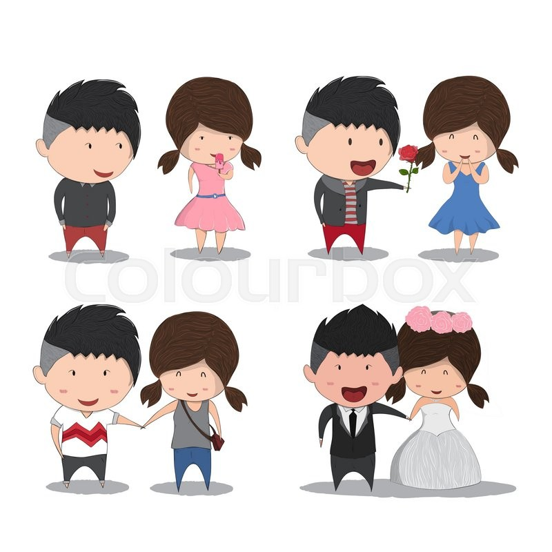 800x800 Set Character Cute Cartoon Wedding Couples, Cute Valentine's Day
