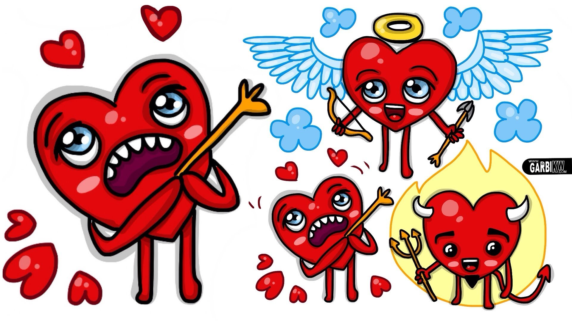 1920x1080 How To Draw A Cupid Heart And A Demon Heart Designs