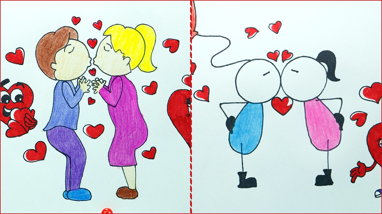 1280x720 How To Draw Valentine Kiss Day Drawing