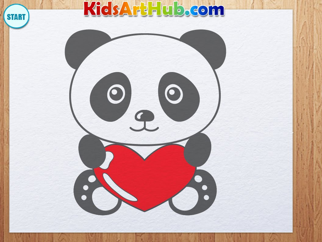 1056x793 How To Draw Valentine Day Panda With Heart