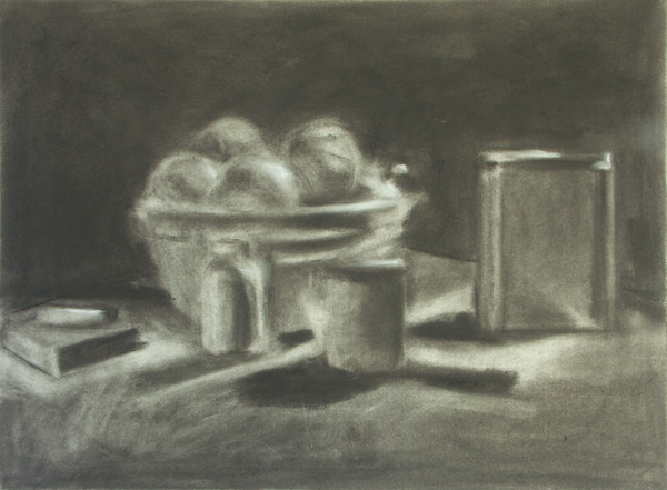600x441 Compressed Charcoal Still Life Value Study Erased Drawing Arted