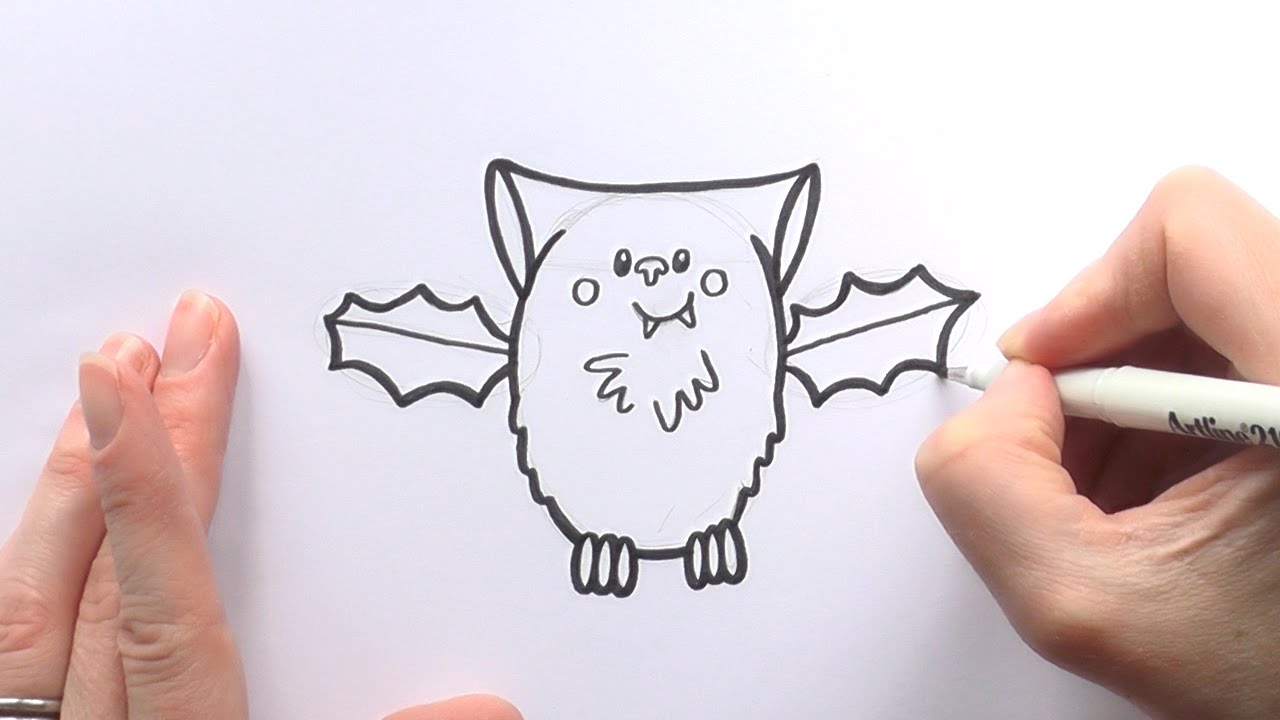 1280x720 How To Draw A Cartoon Vampire Bat For Halloween