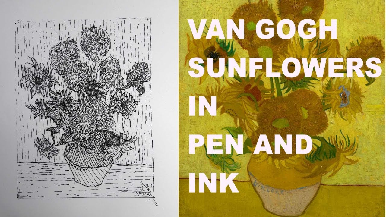 1280x720 Drawing Van Gogh's Sunflowers With Pen And Ink