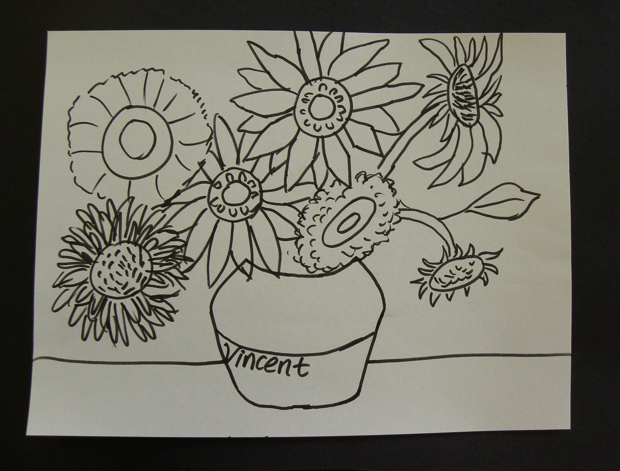 2143x1628 Kids Can Draw Vincent Van Gogh Sunflowers With First Grade Art