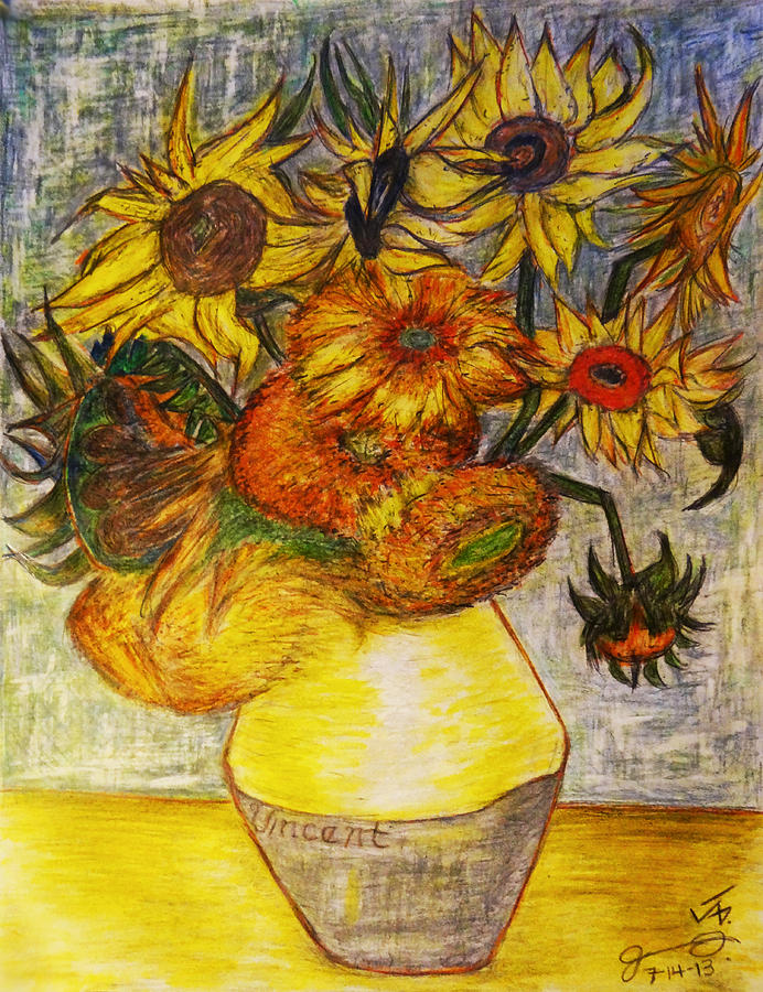 Van Gogh Sunflowers Drawing At Getdrawings Free For Personal
