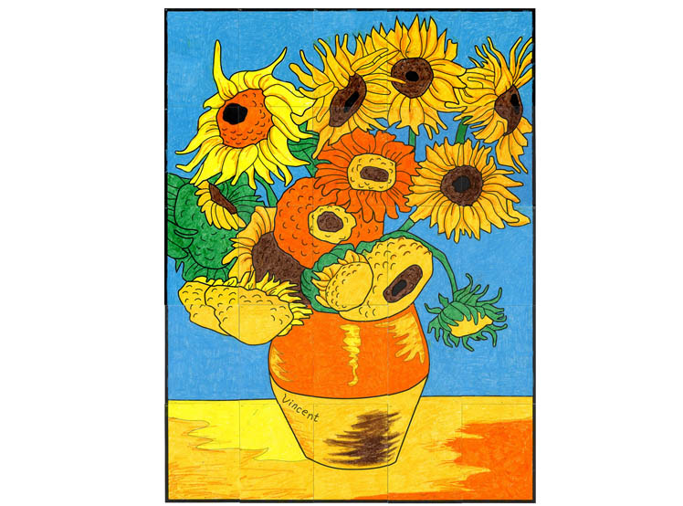 748x554 Van Gogh Sunflower Mural