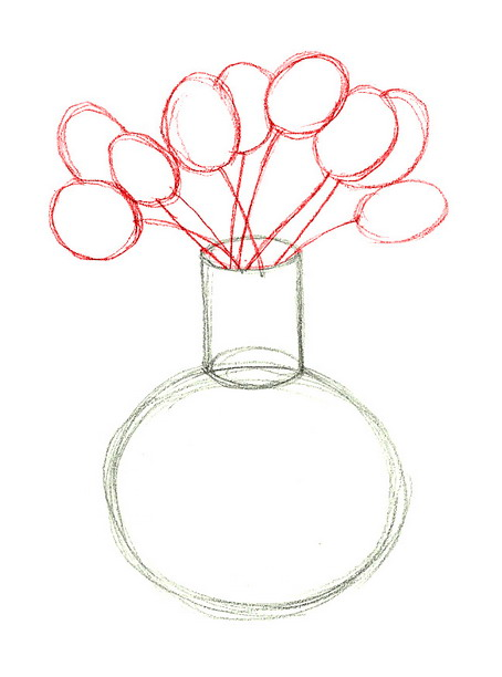 454x612 How To Draw Flowers In A Vase Drawing Flowers Amp Leaves