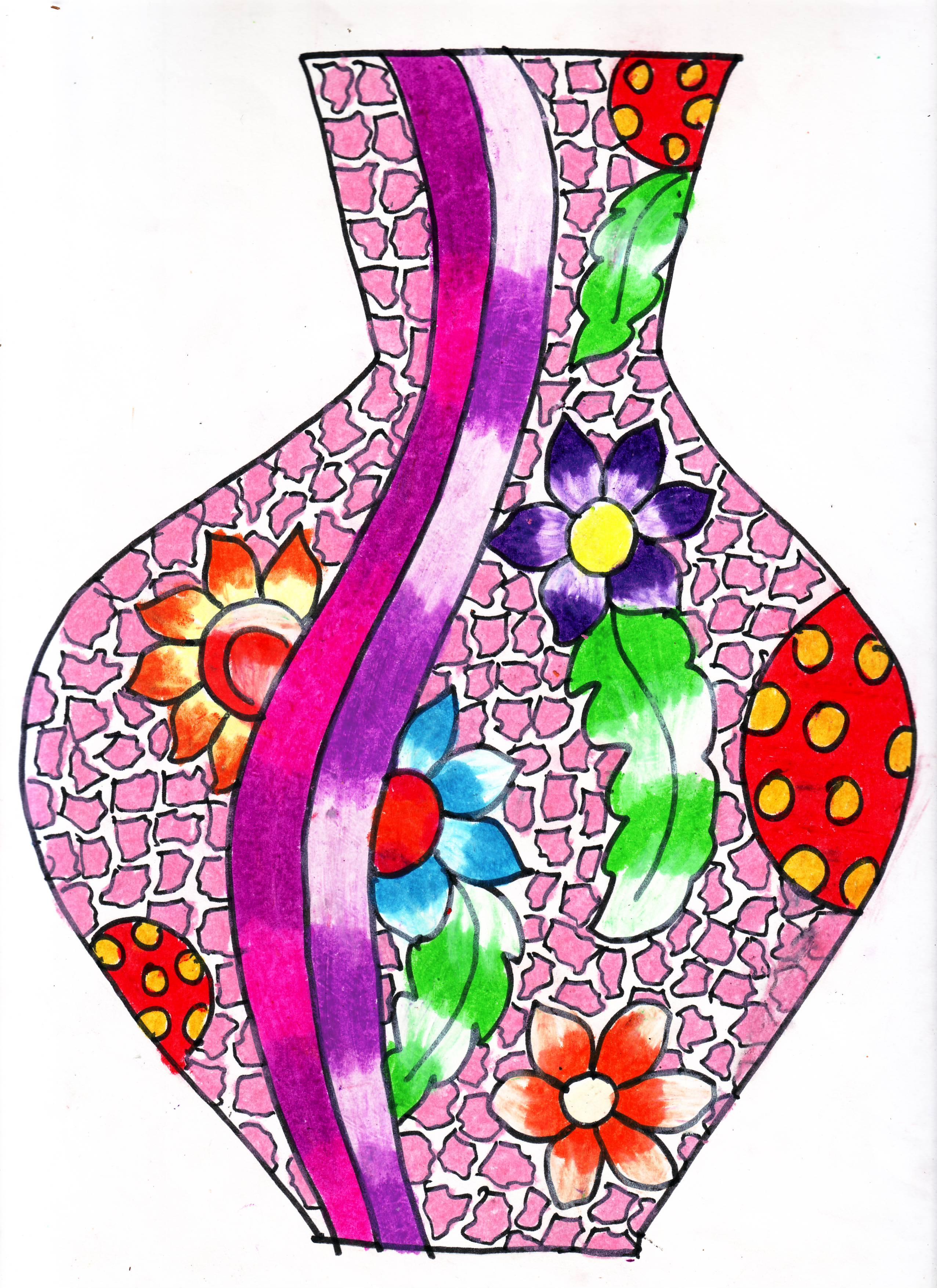 2552x3508 50 New Flower Vase Drawing