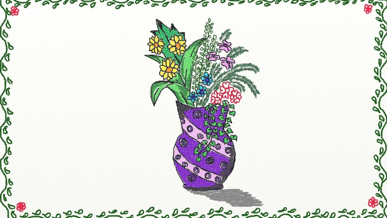 1280x720 Flower Vase With Flowers Drawings For Kids Drawing A Simple Flower