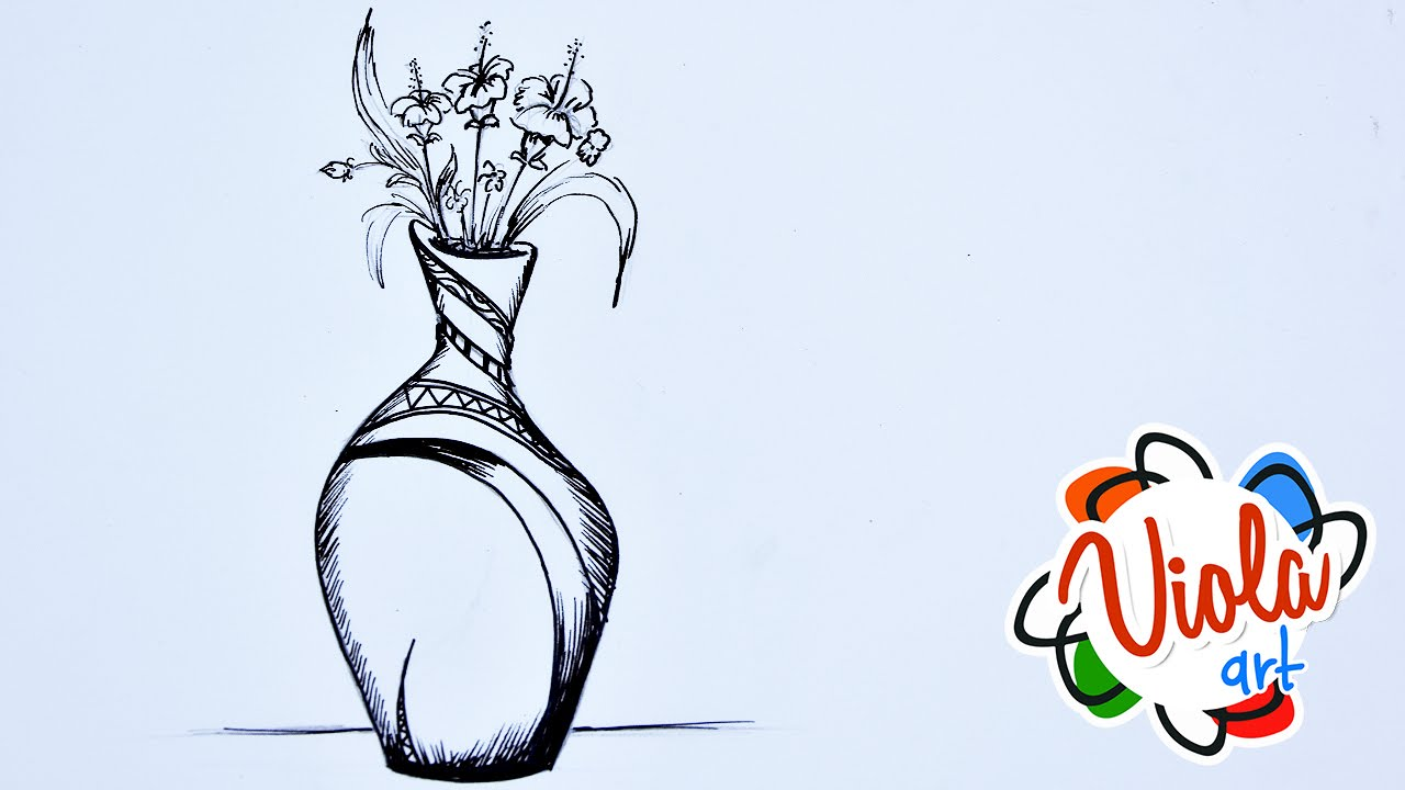 1280x720 How To Draw A Flowers Vase For Children By Markers Colours Drawing