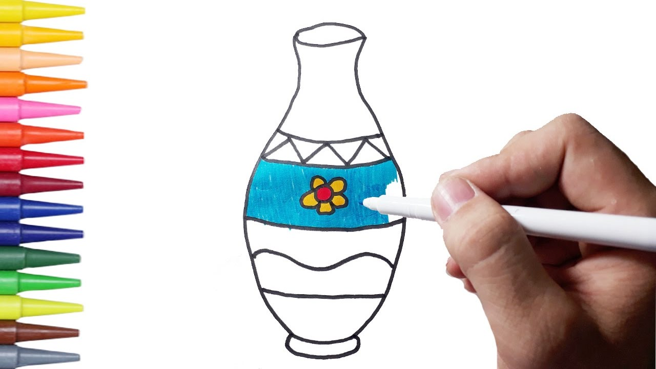 1280x720 How To Draw Flower Vase Amp Coloring Pages For Kids
