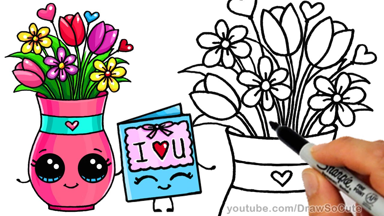 1280x720 How To Draw A Vase With Flowers And Cute Card Step By Step Sweet
