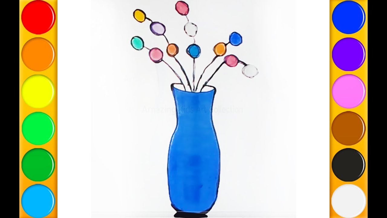 1280x720 How To Draw Flower Vase Step By Step Very Easy For Kids To Learn