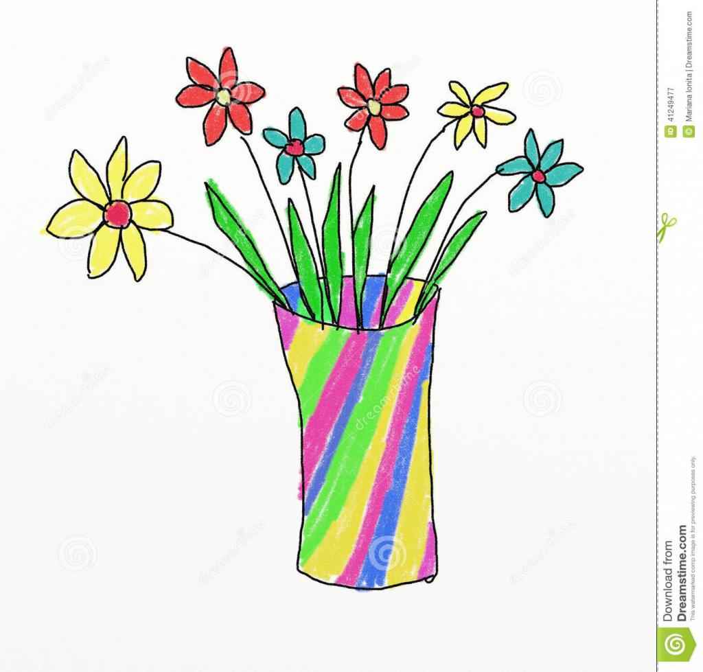 1024x979 Kids Drawings Of Flowers Flower Vase Drawing Kid Flower Vase