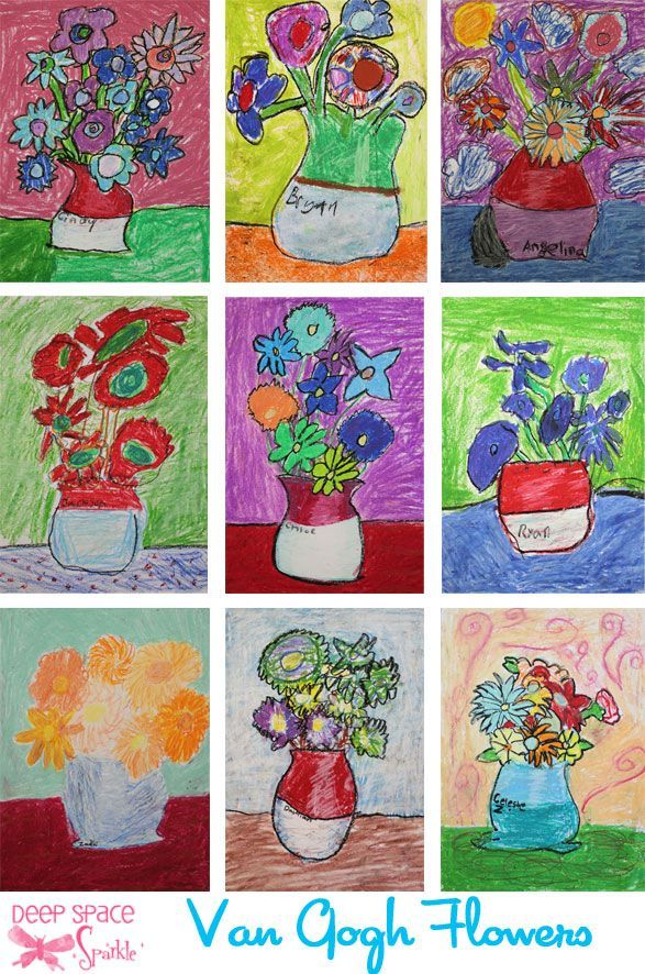 587x886 Van Gogh Sunflower Art Lesson In Oil Pastel And Tempera Paint