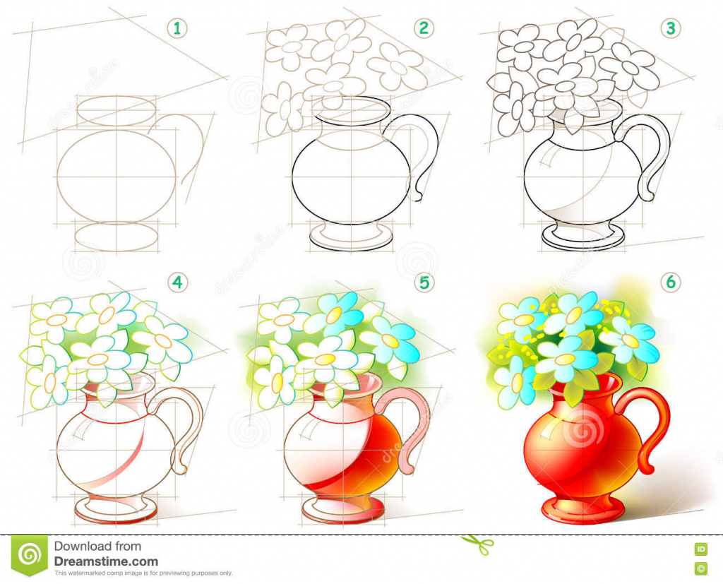 1024x827 Beautiful Flower Vase With Flowers Drawing Page Shows How To Learn