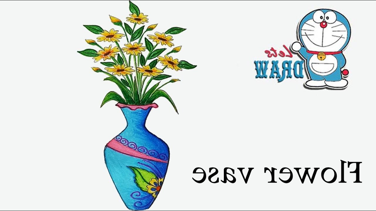 1280x720 Flower Vase With Flower Drawing How To Draw Flower Vase Step By