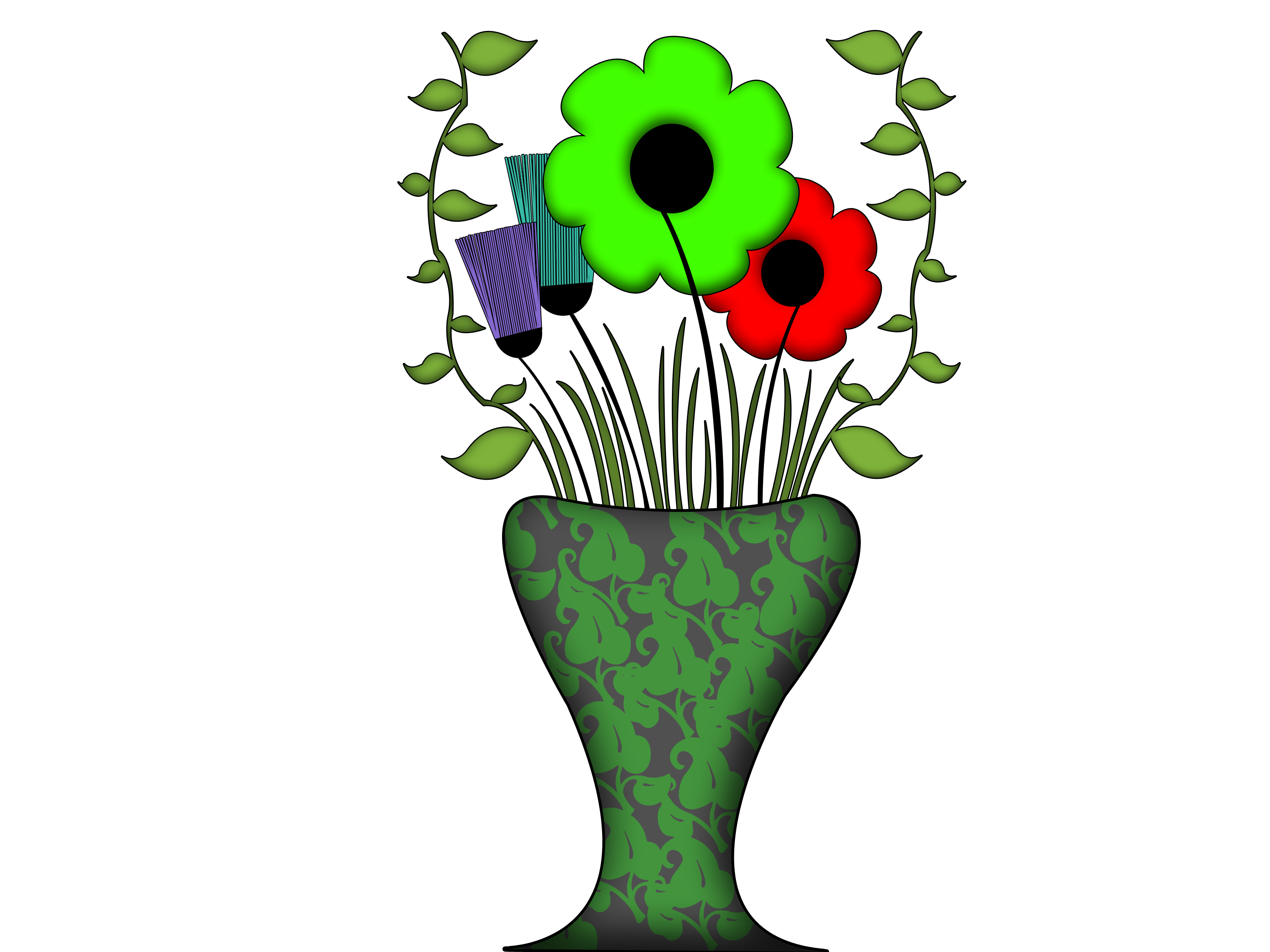 3200x2400 How To Draw Flowers And Leaves In A Vase 9 Steps (With Pictures)