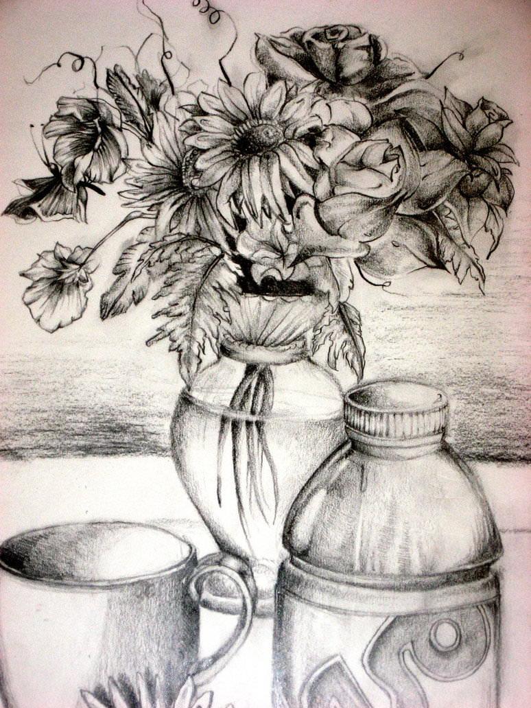 774x1032 Pencil Drawing Flower Vase Flower Drawings