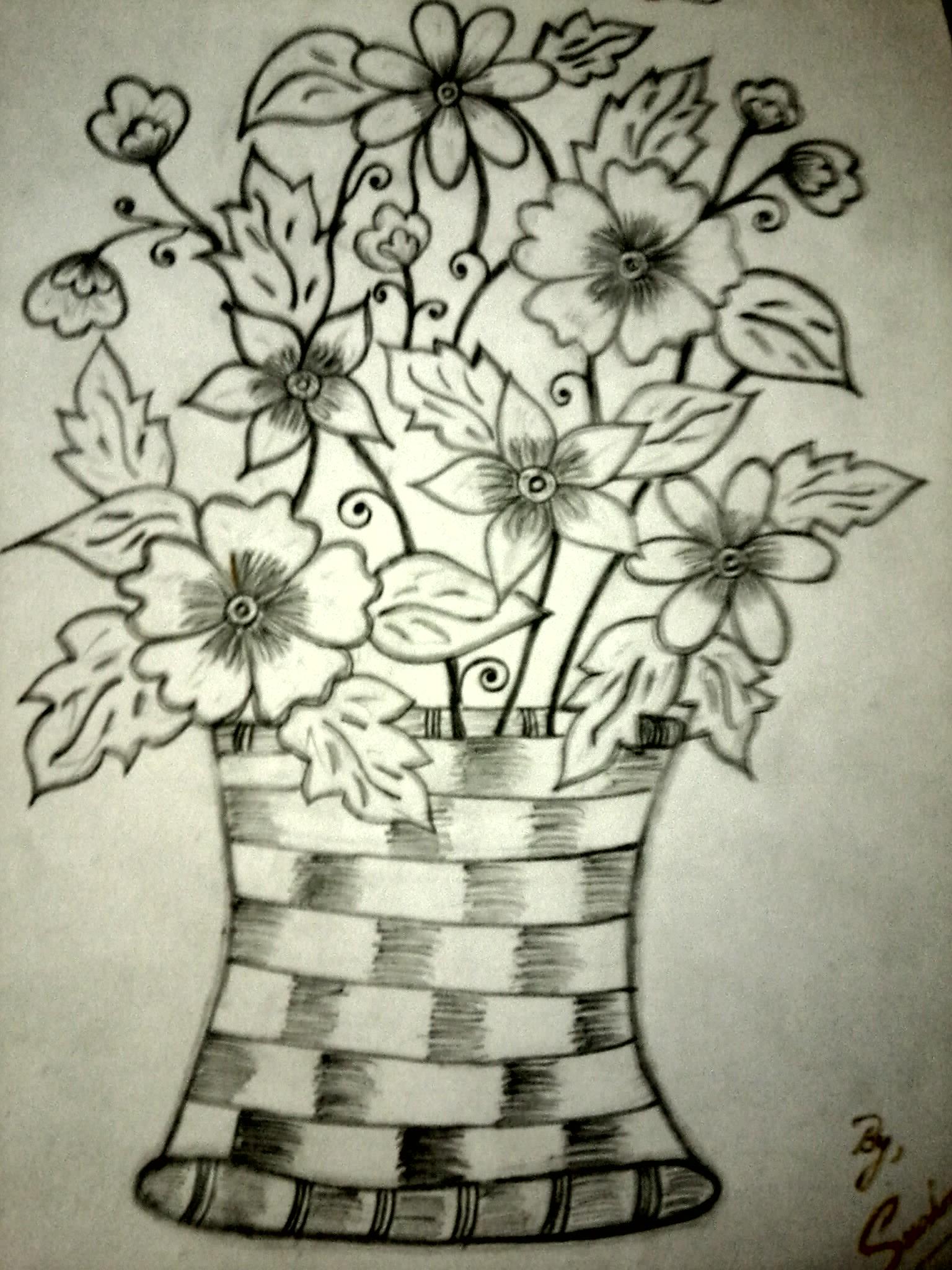 1536x2048 Pencil Drawing Of Flower Vase Gallery Flower Vase Pencil Shading
