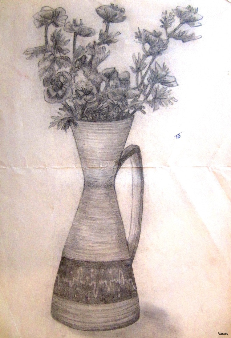 750x1098 Pencil Drawing Rose Flower Vase Sketch In Royalty Free Stock Image