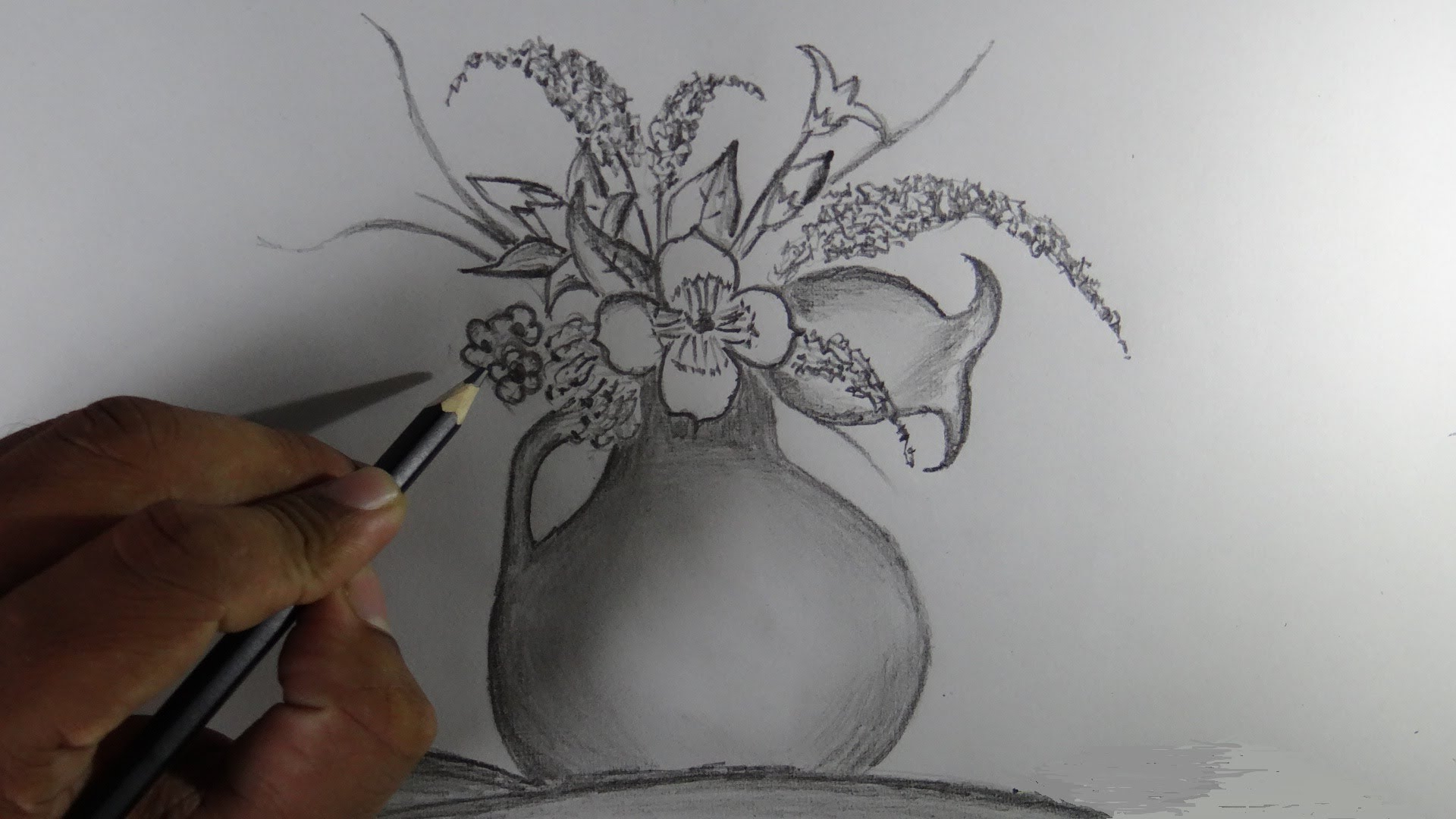 1920x1080 Pencil Drawings Of Flower Vases How To Draw A Flower Vase