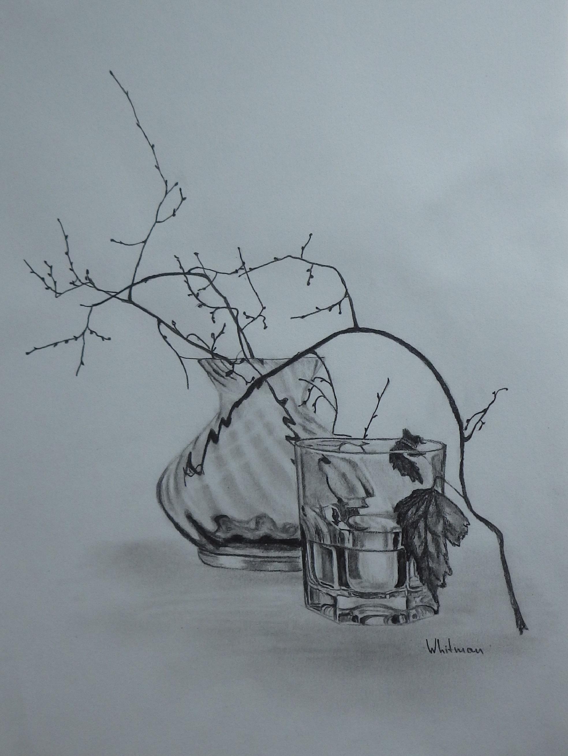 1968x2616 Vase And A Glass, Still Living Fe Sketch. Original Art, Graphite