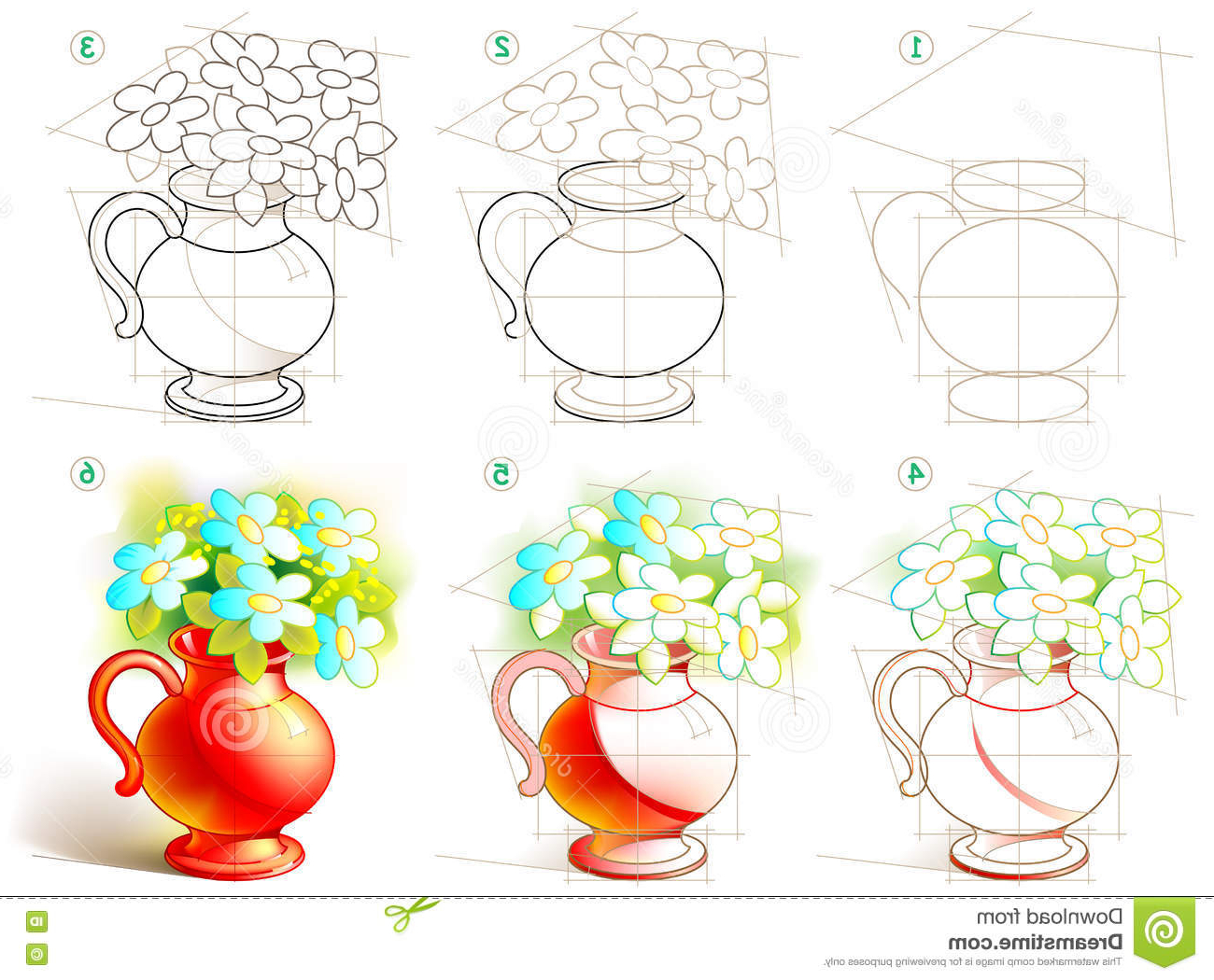 1300x1050 Beautiful Flower Vase With Flowers Drawing Page Shows How To Learn