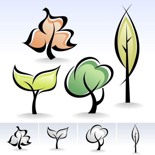 500x500 Drawing Cute Tree Vector Graphics 03