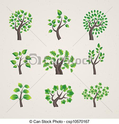 450x470 Set Of Vector Trees Set Of Different Types Vector Tree Clip
