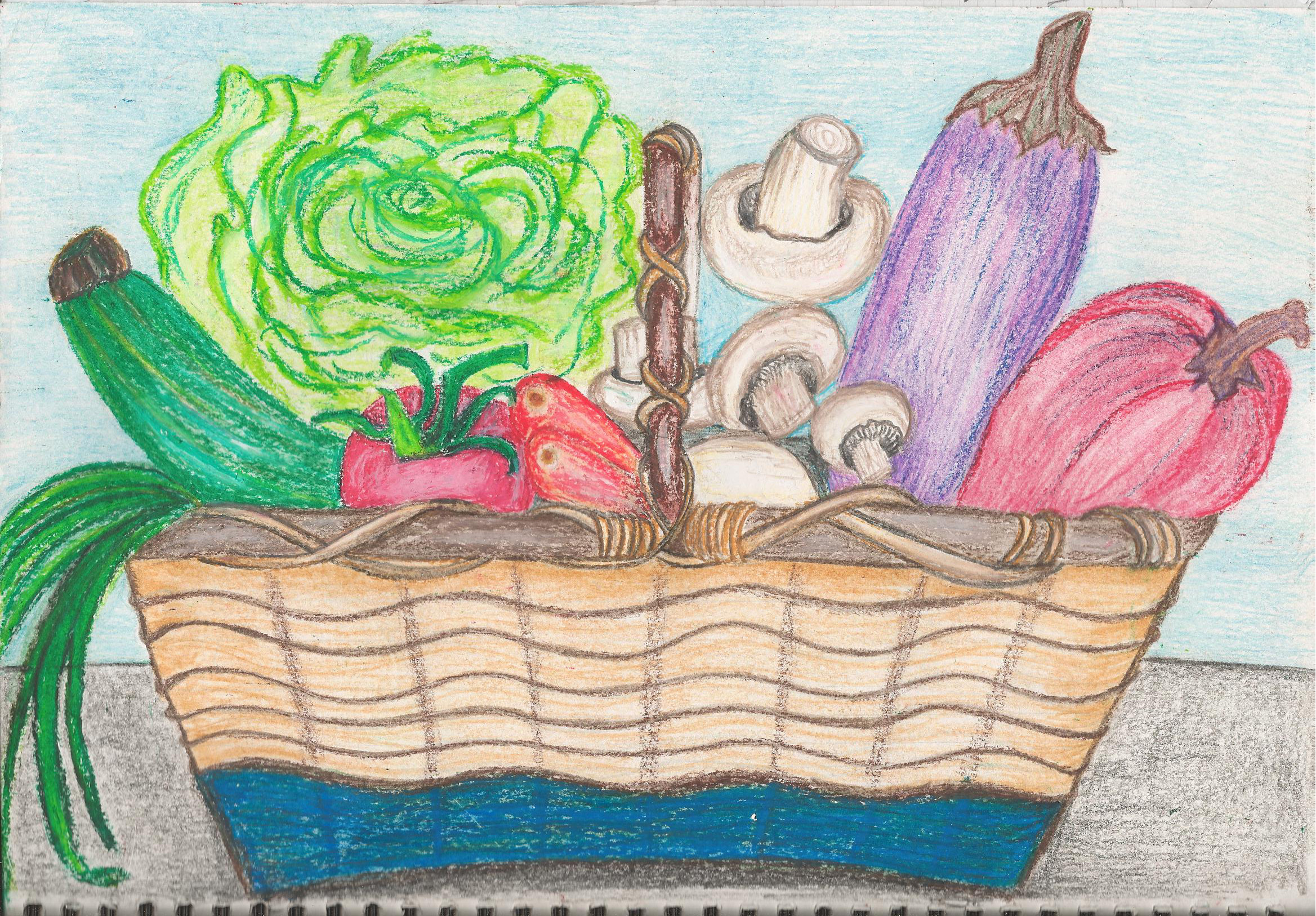 2337x1626 A Vegetable Basket Drawing Still Life How To Draw Vegetables