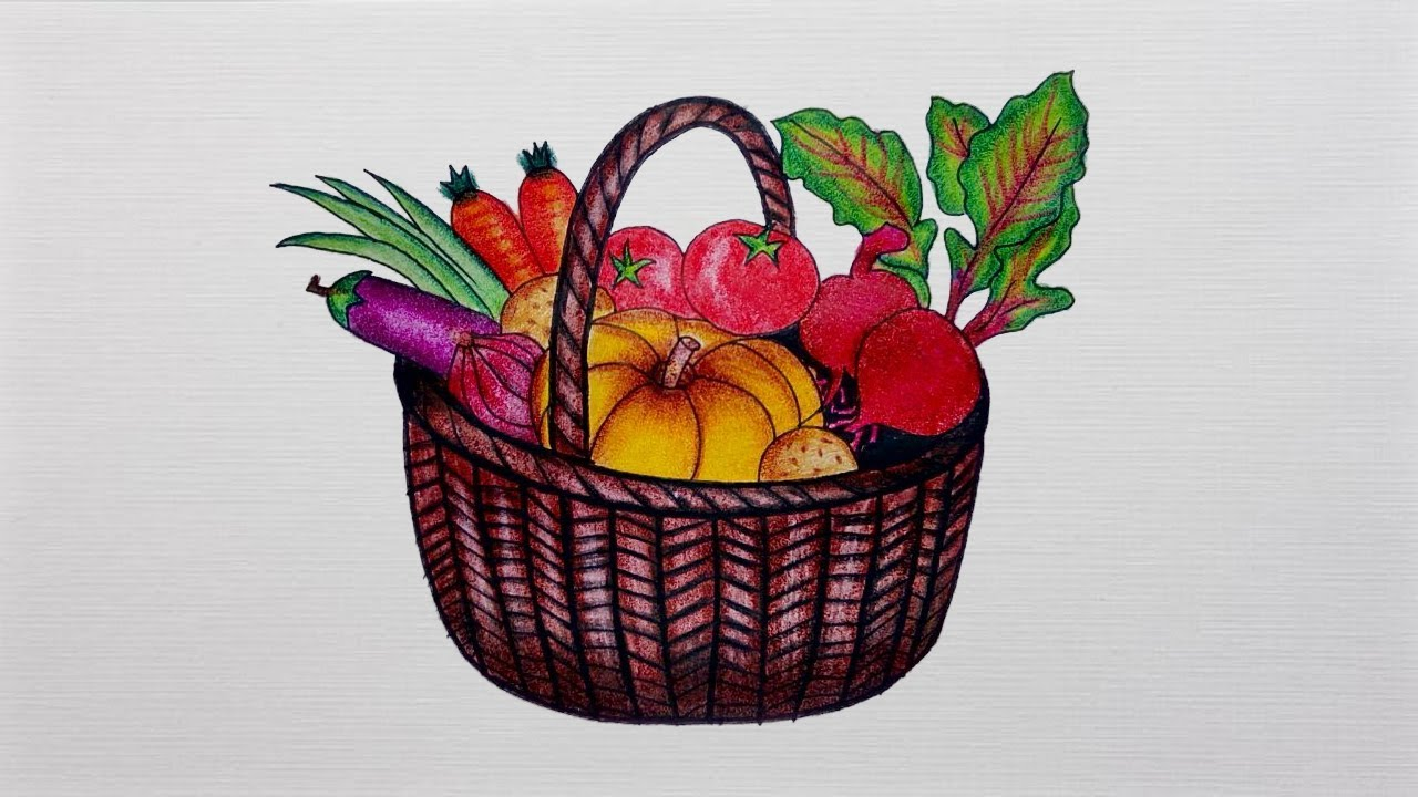 1280x720 Vegetable Basket Drawing