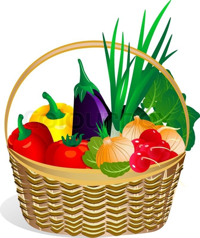 673x800 Vegetables In The Basket Stock Vector Colourbox
