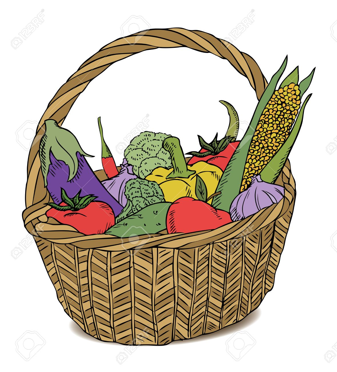 1179x1300 Basket With Different Vegetables Color Royalty Free Cliparts