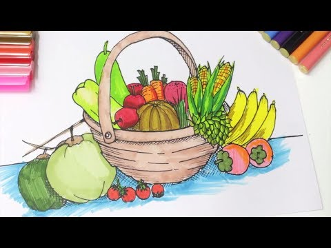 480x360 Color Fruits Basket Coloring For Kids Learn Fruits For Kids