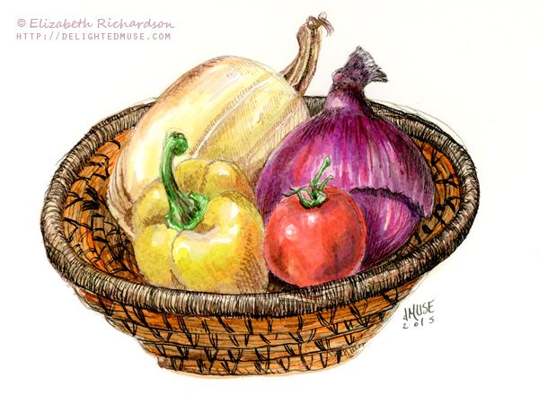 600x451 Drawing Vegetables In A Basket Still Life Ink + Watercolor